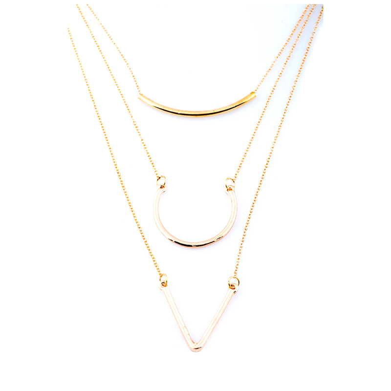 Gold Geometrical Layered Long Chain LCNGG large 1