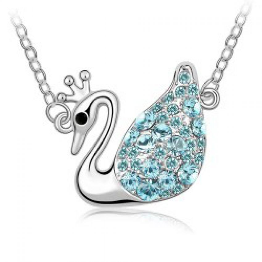 Aqua Crystal Swan Necklace large 1