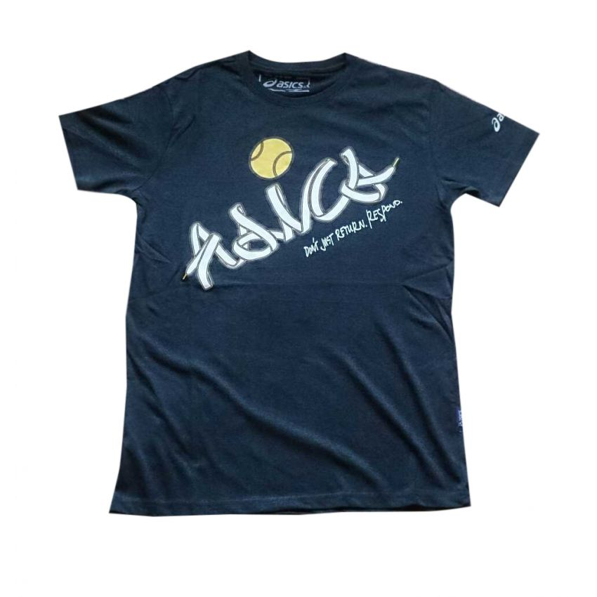 Asics Black Printed T Shirt large 1