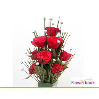 Red Roses with Glass vase Arrangement RM018 large 1