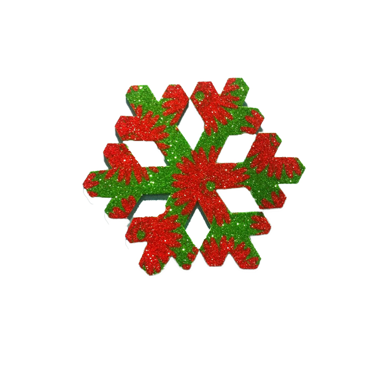 Pack Of 10 Red And Green Christmas Decoration Snow Flakes Stickers large 1