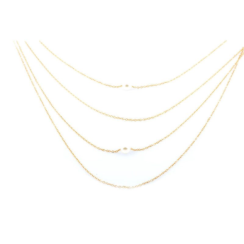 Gold Pearl String Layered Long Chain LCNGPS large 1
