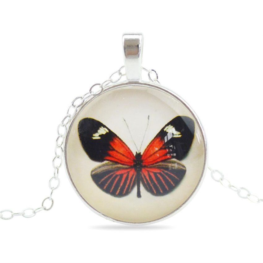 Vintage Red and Black Butterfly Necklace large 1