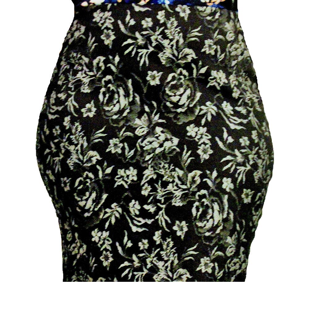 Women's Black Pencil Skirt Printed White Flowers large 1