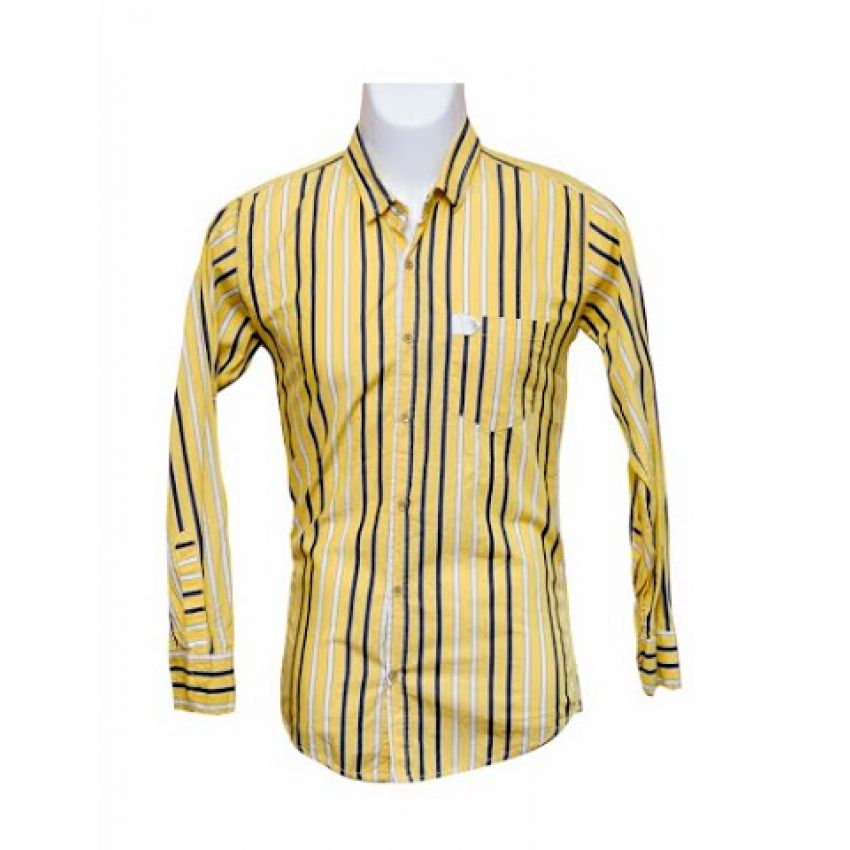 Men Slim Fit Indian Yellow Stripe Shirt large 1