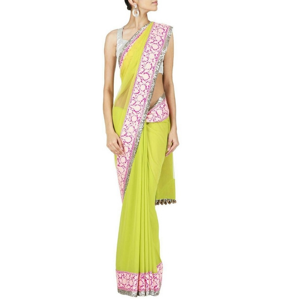 Bollywood Lime Green Saree SR1407 large 1