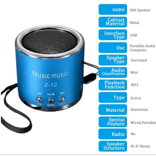 Portable Cylinder Speaker Amplifier FM Music Radio