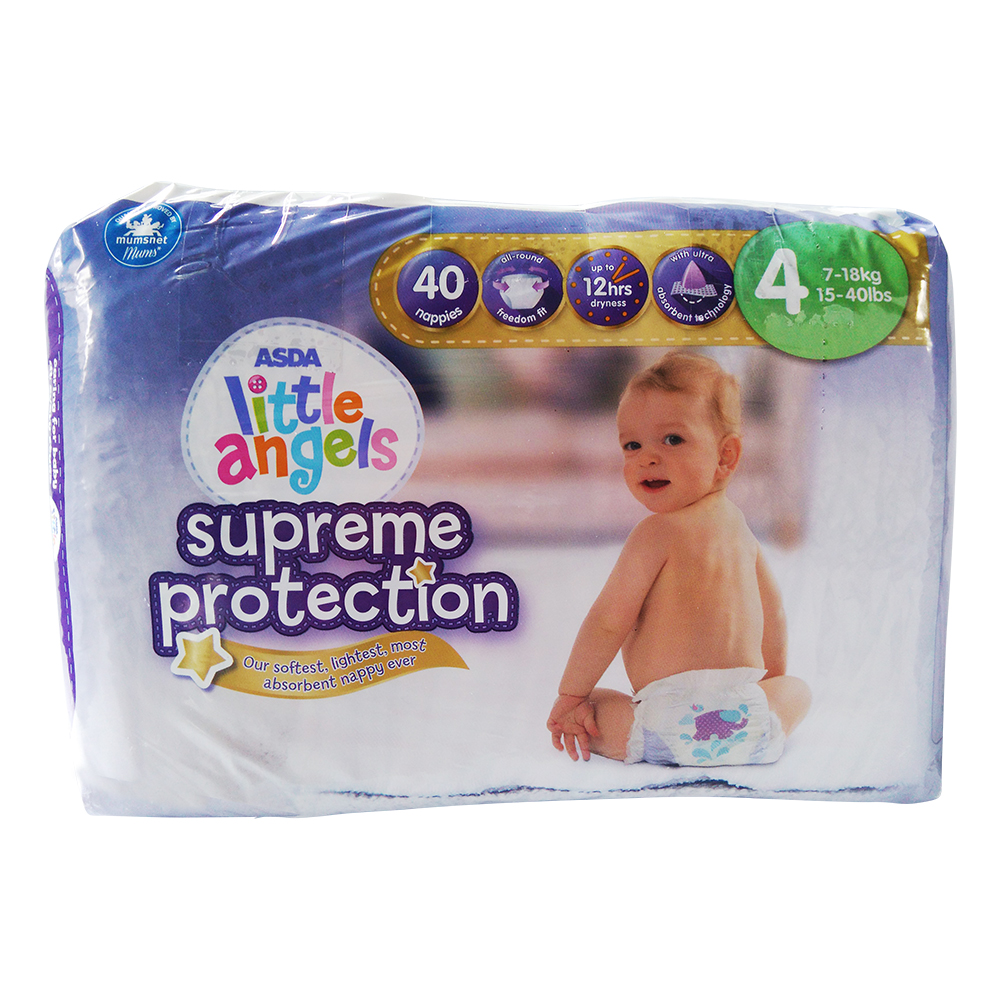 Asda Little Angels Supreme Protect Pampers 40pack Size 4 large 1