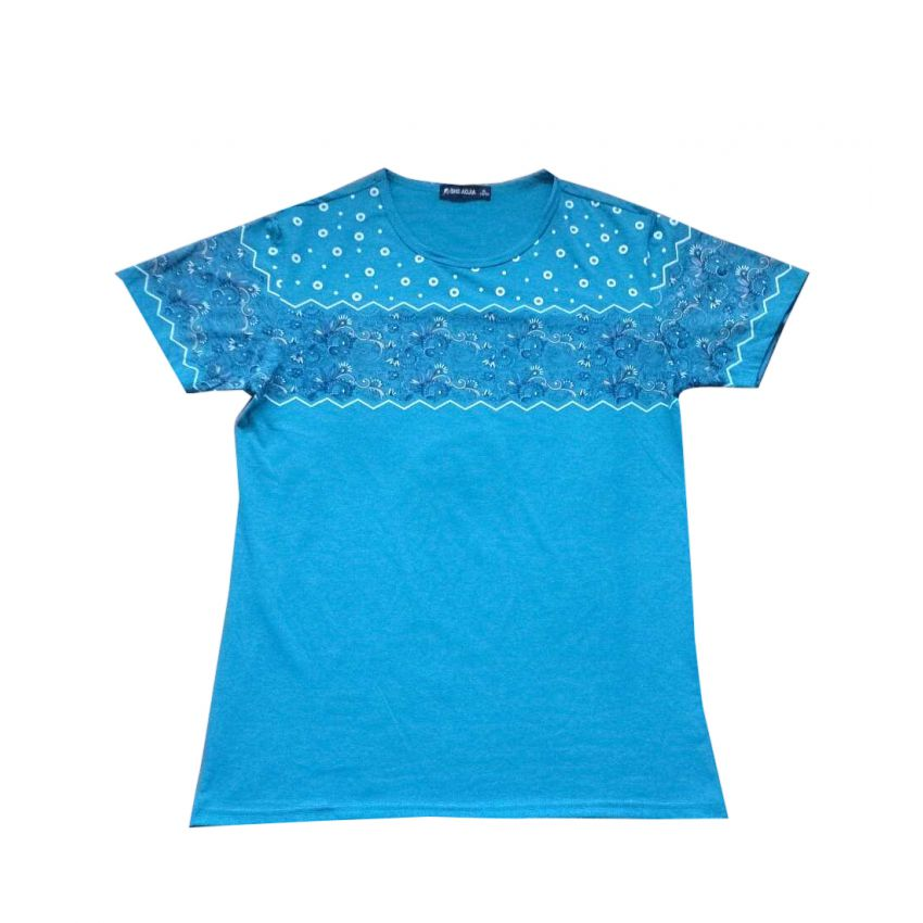 Blue Paisley Print T Shirt large 1
