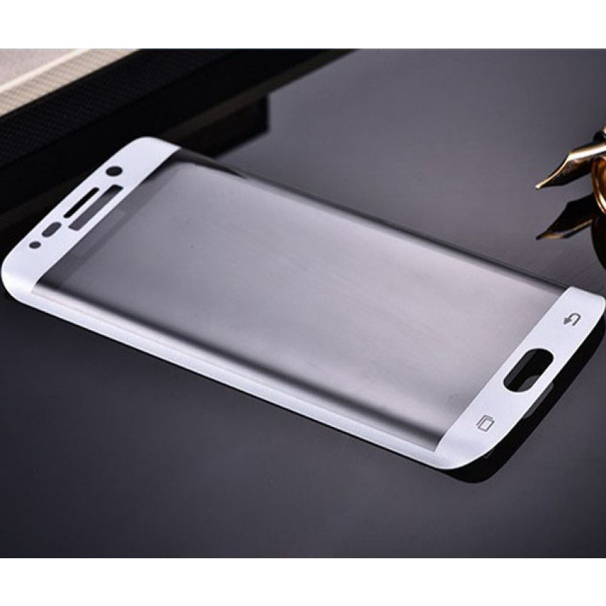 Samsung Galaxy S6 Edge Full Cover Curved Tempered White Glass