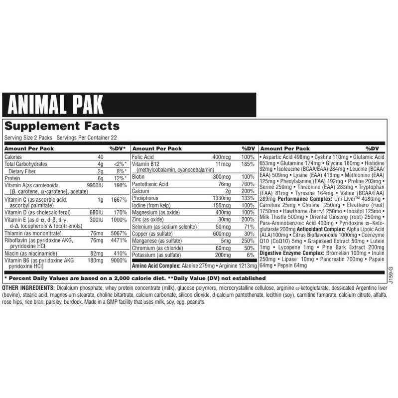 Animal pak supplement large 2