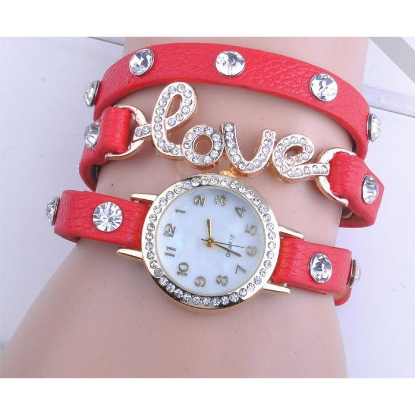Red Synthetic Love Dial Watch LW018 large 1
