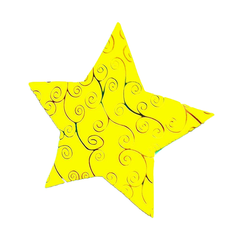 Pack Of 10 Yellow And Black Designed Christmas Decoration Star Stickers large 1