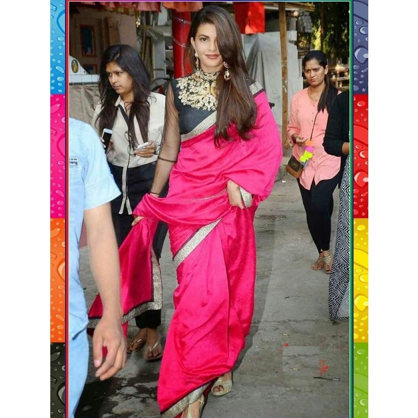 Bollywood Jacqueline Pink Saree SR1477 large 1