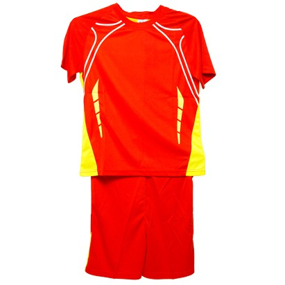 Mens Red Sports T Shirt and Shorts Sportswear Set lino376