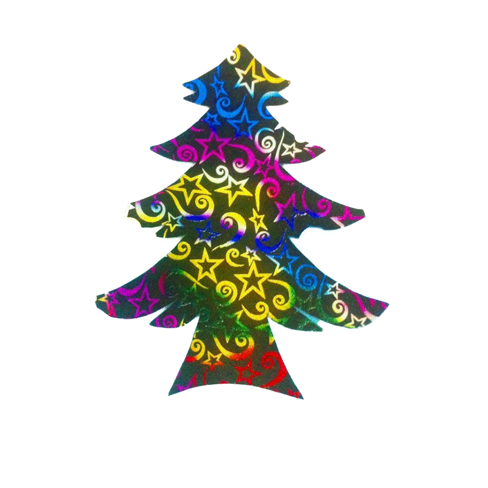 Pack Of 10 Colorful Designed Christmas Decoration Tree Stickers large 1
