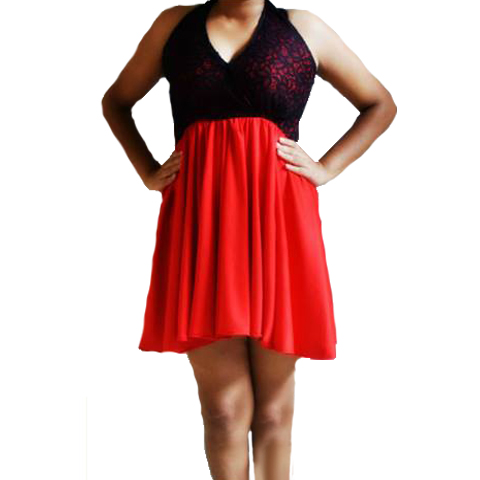 Red n Black Lace Dress large 2