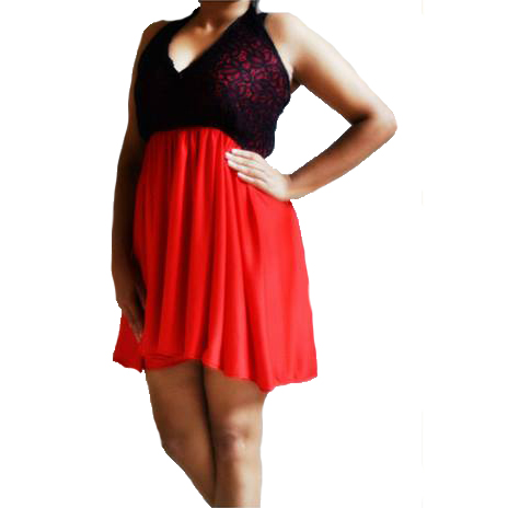 Red n Black Lace Dress large 3