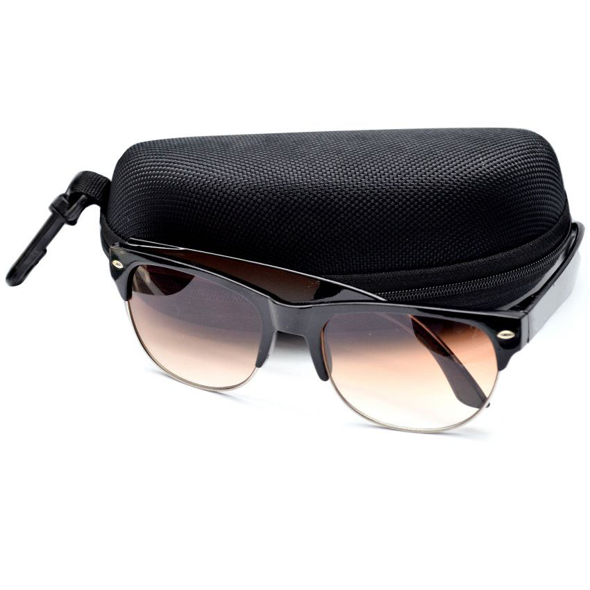 Brown Clubmaster Fashion Sunglasses With Pouch large 1