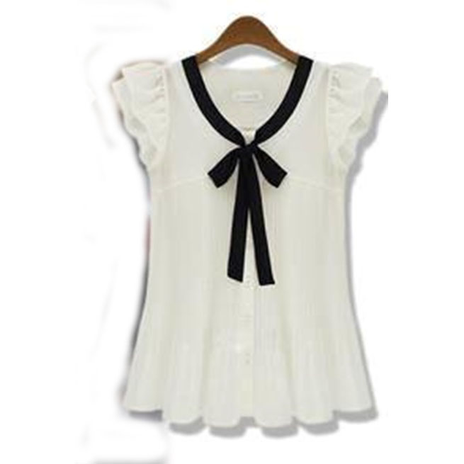 White And Black Bow Short Top 1007 large 1