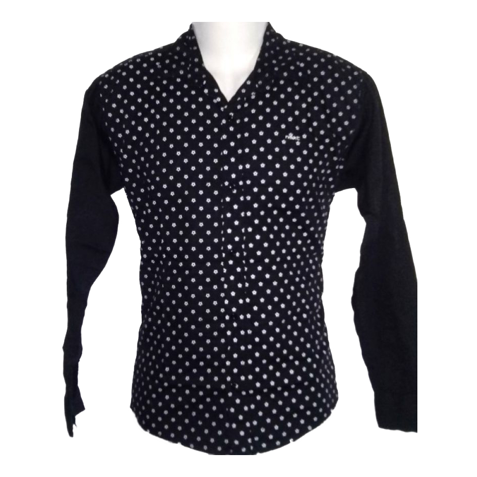 Men Indian Slim Fit Black Dotted Shirt