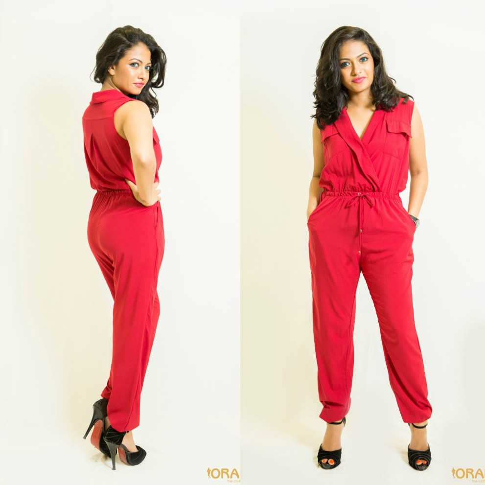 Wine red casual wear jumpsuit - 60570 large 1