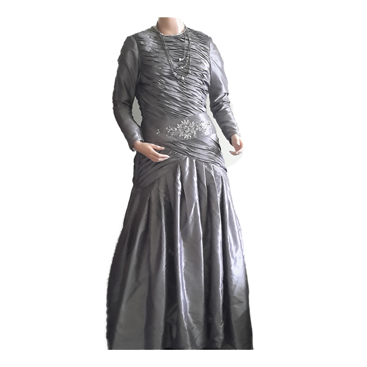 Gray Long Wedding Frock large 1