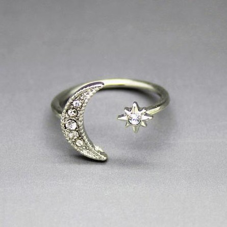 Crescent Moon Star Adjustable rings large 1