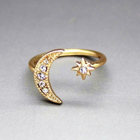 Crescent Moon Star Adjustable rings large 2