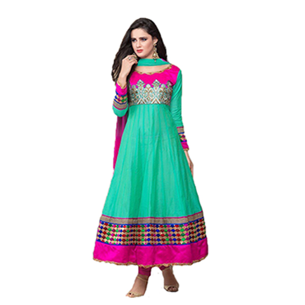 Turquoise and Pink Embroidered Anarkali Suit 5008 large 1