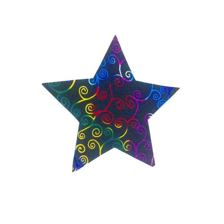 Pack Of 10 Black Color Designed Christmas Decoration Star Stickers large 1