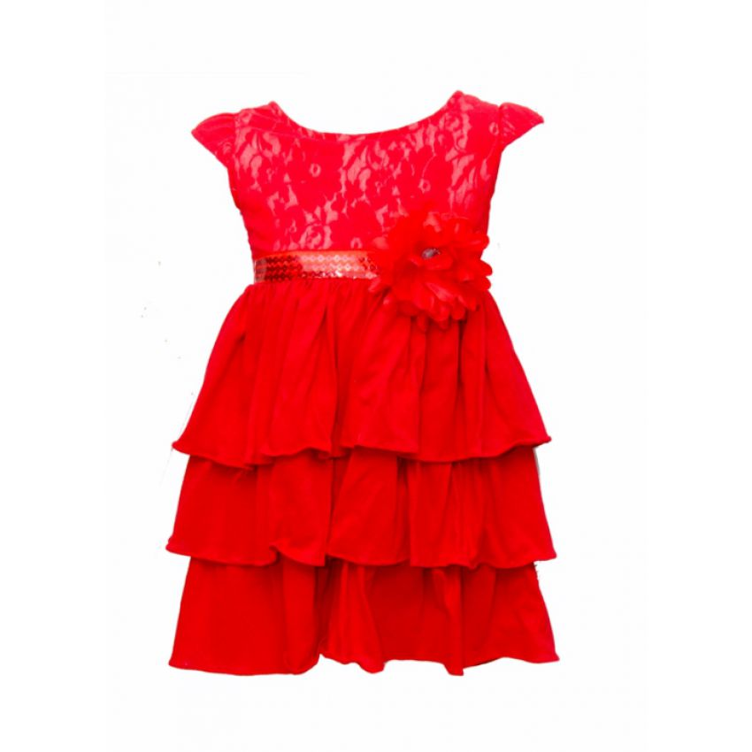 Red Frill Girl Dress large 1