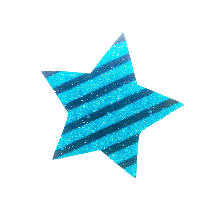 Pack Of 10 Dark And Light Blue Striped Christmas Decoration Star Stickers large 1