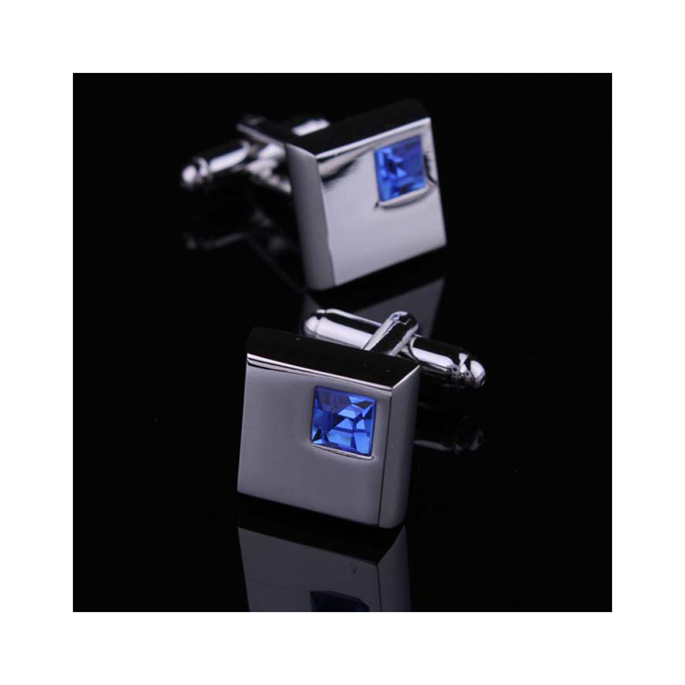 Cuff Link Business Crystal Inlaid Style Blue large 1