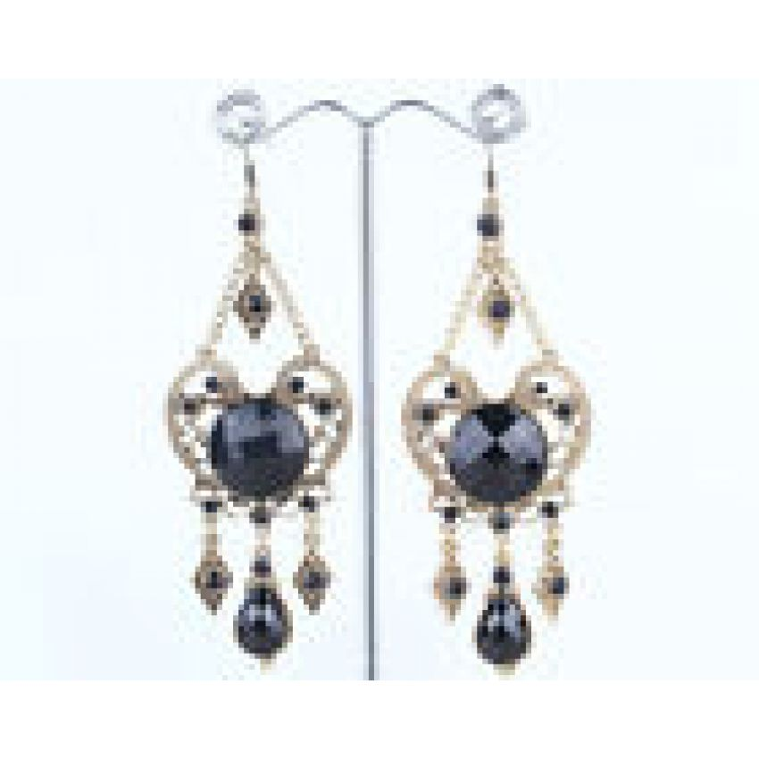 Silver Tone Bronze Black Drops Bohemian Retro Earrings large 1
