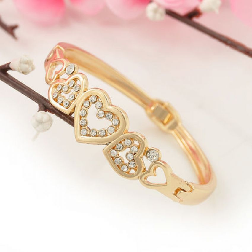 Gold Hollow Inlay Crystal Heart Shaped Bangle large 1