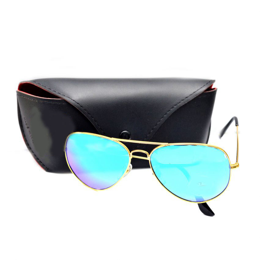 Blue Aviator Polarized Sunglasses For Men Cayan With Pouch large 1