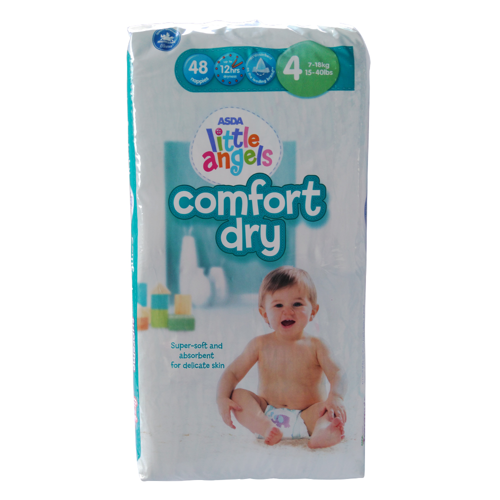 Asda Little Angels Compfort Dry Pampers  48pack Size 4 large 1