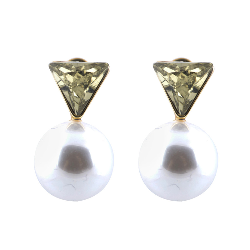 Triangle Stud Pearl Earring ERGTSP large 1