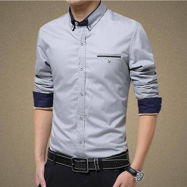 Mens Casual Slim Fit Long Sleeves Shirts - Grey