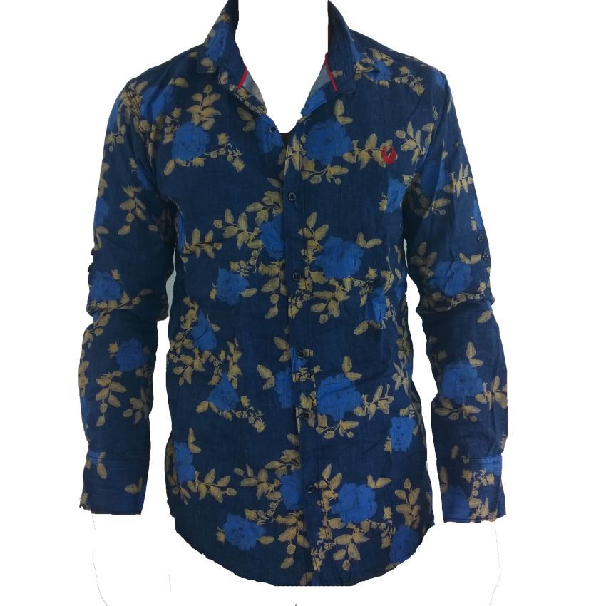 Blue Flower and Leaf Decorated Shirt