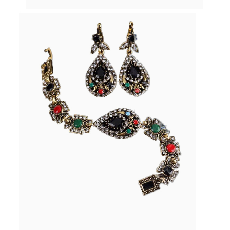 Women's Indian Bracelet And Earrings Jewellery Set large 1