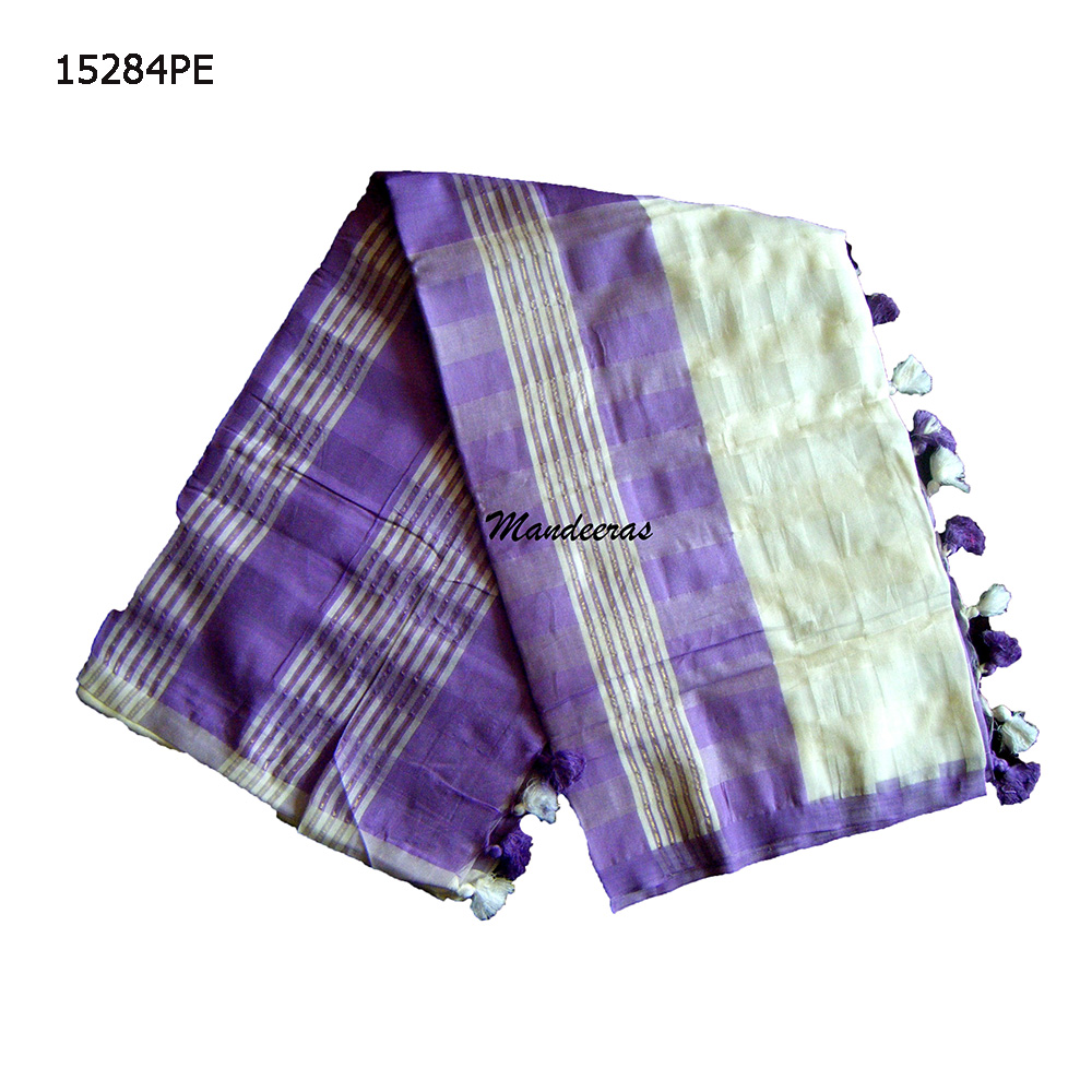Purple and White Sri Lankan Handloom Saree 15284PE