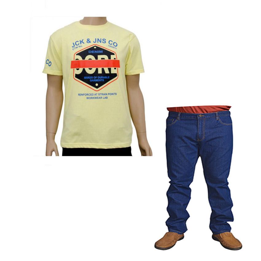 Mens Slim Fit Blue Denim And Jack And Jones Yellow T Shirt