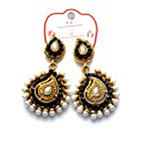 Gold Plated Wedding Wear Black Stoned Earrings large 1