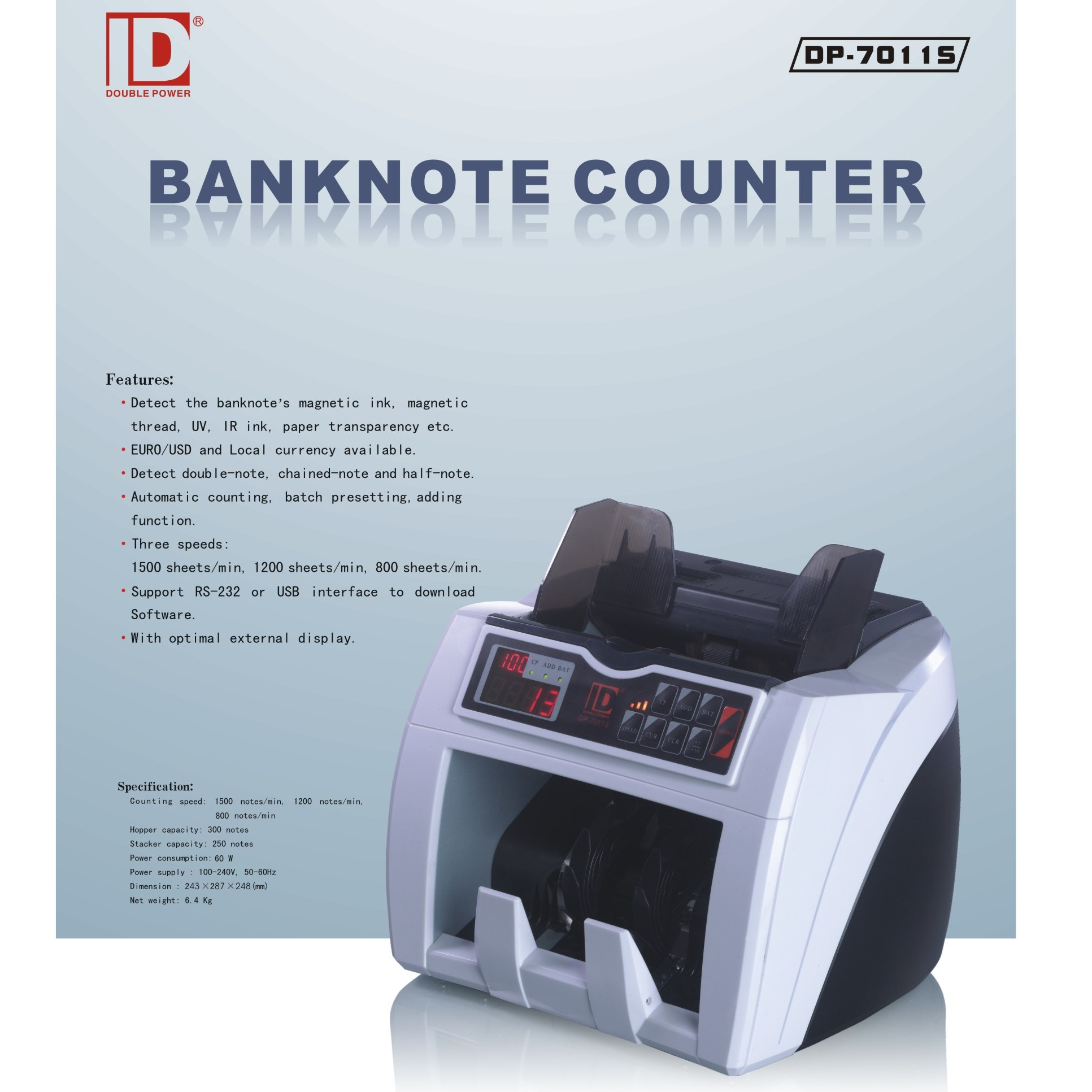 Cash Currency Money Banknote Bill Counting Machine - DP 7011 S large 1