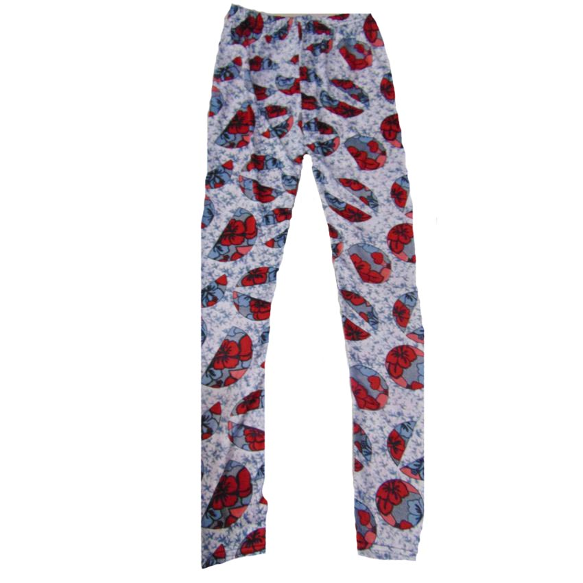 Printed Leggings Red With Grey large 1