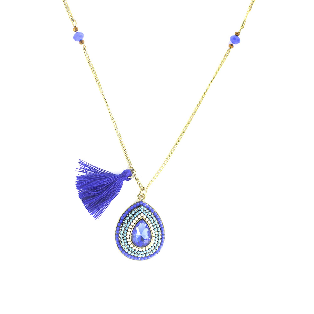 Blue Tassled Teardrop Long Chain LCNBTT large 1