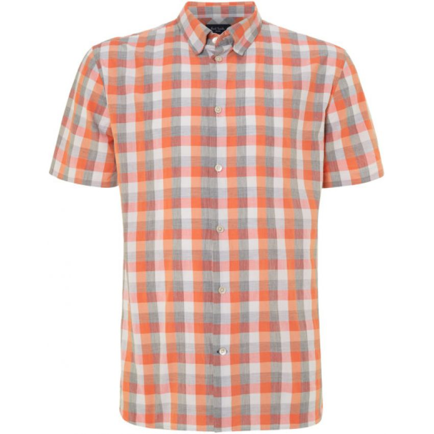 Mens Madras Lined Shirt Short Sleeve Orange