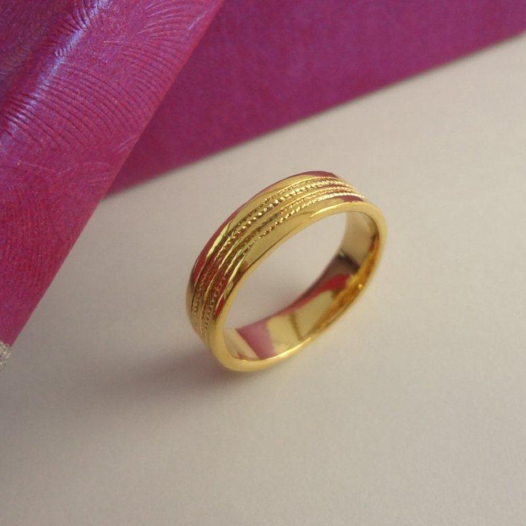 Charm plain band Gold Plated Ring large 1